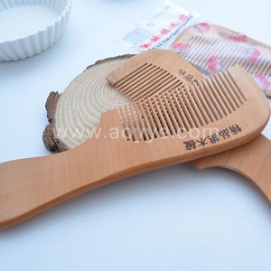 Best sell Natural materials processing comb peach color wooden comb hair, laser marking