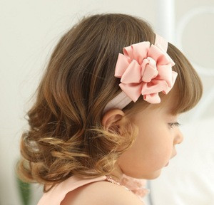 Children Hair Accessories Rose Flower Skinny Elastic Hair Strap Kids Cute Pink Flower Headbands Ribbon Flower Hair Bands