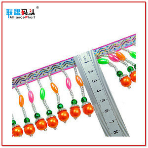 Colorful Beads Pendant Hand Sewing Jacquard Fabric Ribbon Lace Beaded Tassel Fringe Trim For Hmong Miao Dress