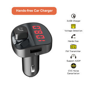 Dual USB Charging Smart Bluetooth FM Transmitter MP3 Music Player Car Kit, Support Hands-Free Call  TF Card  U Disk Hands-free
