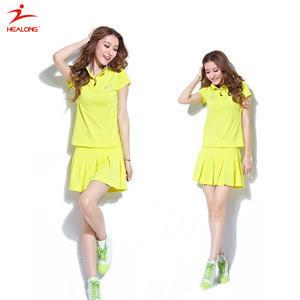 Healong Custom Sport Clothes Tennis Girls Tennis Dresses Yellow