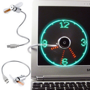 New Mini USB Fan gadgets Flexible LED Clock Cool For laptop PC Notebook Time Display high quality durable Adjustable
