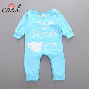 Tasty tea and biscuit printed bodysuit newborn long sleeves baby clothes