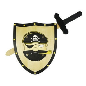 Wholesale fun wooden swords and shield set toys for children wooden outdoor toys for kids