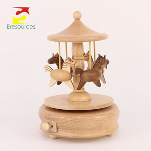 Wood Merry Go Round Music Box