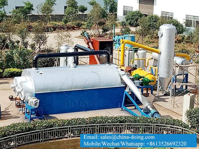 Fully automatic continuous waste tyre/scrap plastic pyrolysis to fuel oil plant