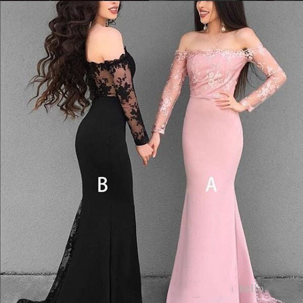Long Mermaid Bridesmaid Dresses Light Pink Designs Sleeves Lace and chiffon For Cheap Sexy Evening Prom Dresses