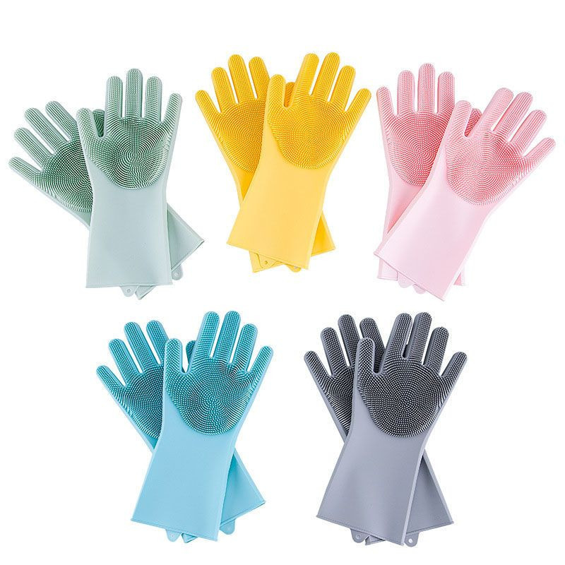 Cleaning Silicone Gloves, Silicone Reusable Cleaning Brush Heat Resistant Scrubber Gloves For Housework, Dishwashing, Kitchen Clean, Bathroom, Bathing, Car Washing, Window Cleaning