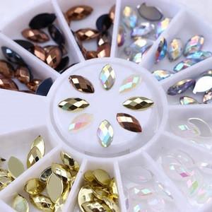 120 Pcs Pebble Cutting Marquise Rhinestone Nail Decoration Flat Bottom Resin Nail Art 3D Decoration