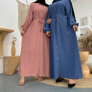 2020 new fashion lapel solid color full button slim dress long skirt abaya muslim dress islamic clothing