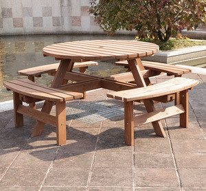 Import 8 Seater Round Outdoor Garden Wooden Picnic Table From China Find Fob Prices Tradewheel Com