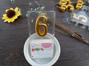 Candle Factory Hot selling Metallic Color Number Cake Candle for Birthday Decoration