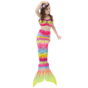 Colorful rainbow print latest design in stock available bandeau bra mermaid tail cute children swimsuit with swimming fins