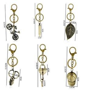 Custom bronze retro locks and keys, carabiner key chain