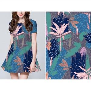 Customized digital printed  elastic single jersey knitting organic bamboo fiber shirting fabric