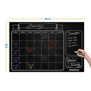 Dry Erase Chalkboard Wall Calendar Decal Sticker for Liquid Chalk Marker Board, 24 x 36 Inches