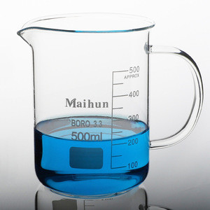 factory direct price Laboratory Supplies 500ml clear Beakers with Handles