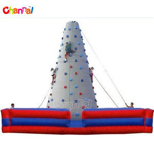 Grey rock inflatable climbing wall