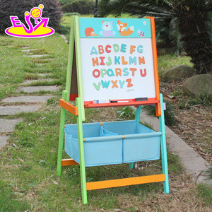 High quality double side erasable wooden kids drawing board with stand W12B048