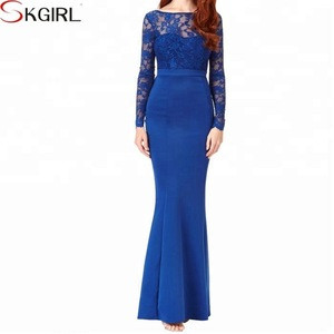 Lace Open Back Bow Long Sleeve Maxi Evening Fishtail Party Dress Prom