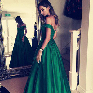 New Arrival Various Colored  A Line Off the Shoulder Long Satin Prom Dress 2019