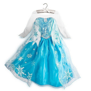Nice new style Gambar Frozen Beautiful Plus size dance and elsa dress for kids wholesale QKC-8403