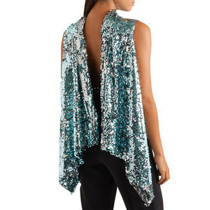 OEM Sexy Sequined Patchwork Sleeveless Tank Top