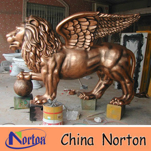 outdoor garden decoration antique life size fiberglass lion statue with wings NTRS-CS628S