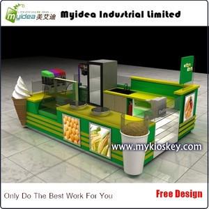 Shopping mall retail food corn ice cream kiosk design with ice cream cone