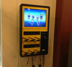 "Wall Mount mobile phone charging kiosk public cell phone charging station wholesale with 14"" LED"