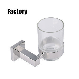 Wholesale Wall Mounted Black Square stainless Single Tumbler Holder toothbrush holder