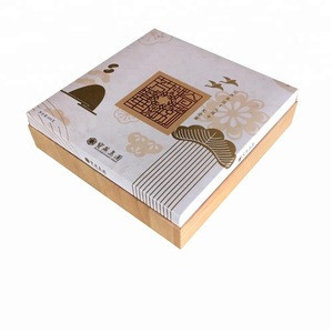 Wood result luxury cardboard boxes for mooncake and food packaging with cloth insert