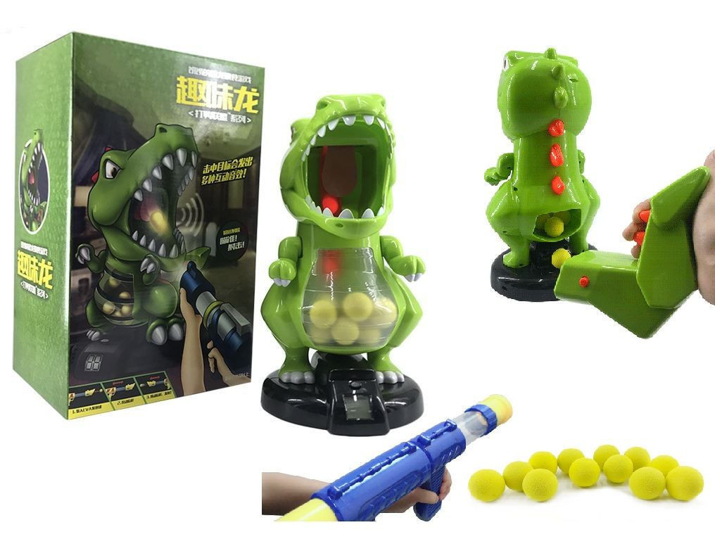 DINOSAUR FEEDING GAME WITH SHOOTING GUN