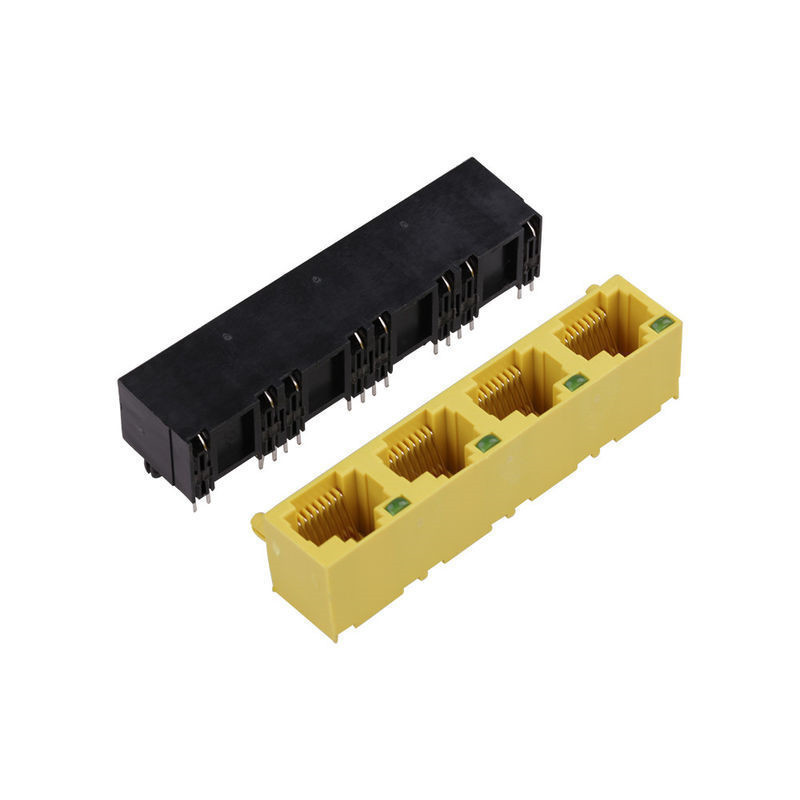 1*4 Ports Yellow / Black RJ45 Female Connector RJ45 PCB Jack For Ethernet Connector