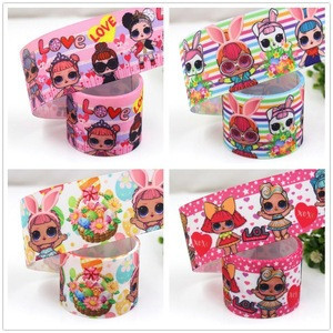 1.538mm high quality LOL cartoon girl foil Printed grosgrain ribbon,solid ribbon + Gift packaging