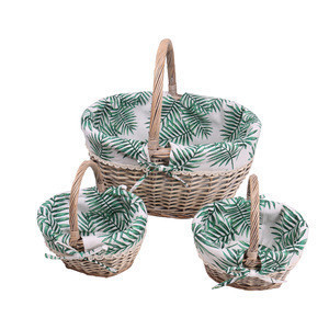 Cheap Round Fabric Liner Wicker Storage Basket With Handle Set Of 3