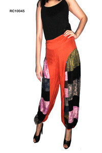 Cotton Trouser boho harem style, baggy pants balloon casual shirred waist pants Harem shirred