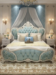 European Luxury royal antique wooden carving bedroom furniture sets genuine leather 5 star hotel bed Customizable