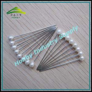 Fashion Hair Accessories 38mm Glossy Plastic White Ball Head Rustproof Plated Steel Hair Sticks For Women