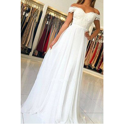 Fashion White Off-Shoulder Maxi Evening Bridesmaid Wedding Dress