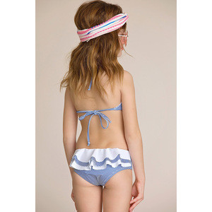 Hot Selling  Blue and White Nautical Stripe Halter Bikini Swimwear