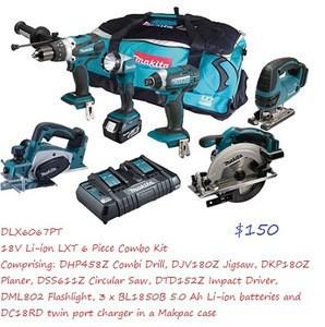 NEW Ma Ki taS Dlx6067Pt 18V Li-Ion 6 Piece Cordless kits(3 x 5.0Ah Batteries) With free Bag, Blue/Black