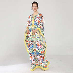 Occident European Plus size Indian Clothing Pakistani Woman Robe Bat Dolman porcelain print silk beach party evening women dress