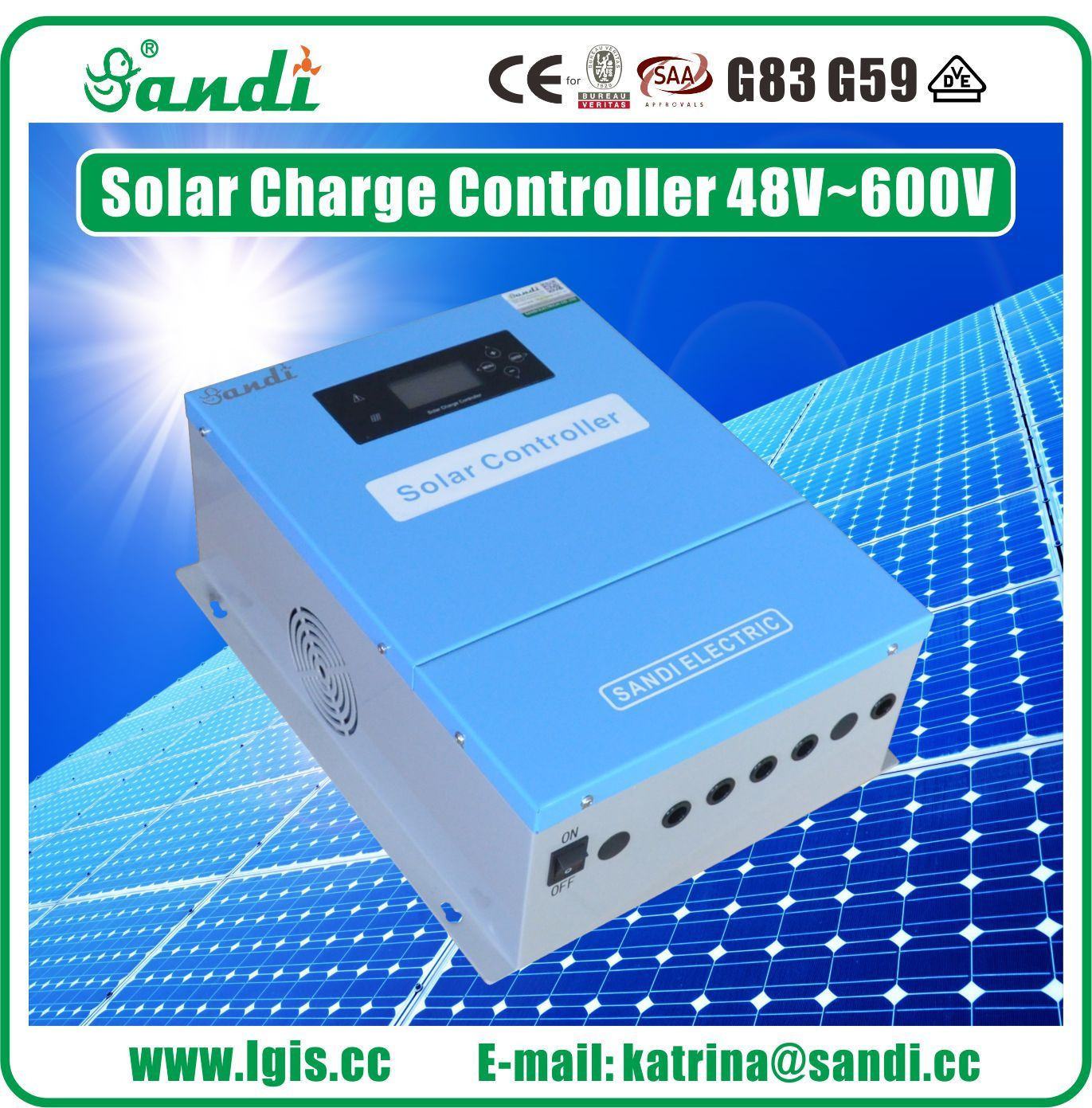 100A Solar Charger High Efficiency 48V-600VDC PV Input Solar Charge Controller