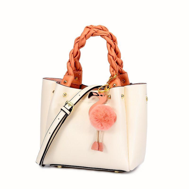 Korean Design Leather Lady Handbag with Cartoon Crane Key Ring Decoration