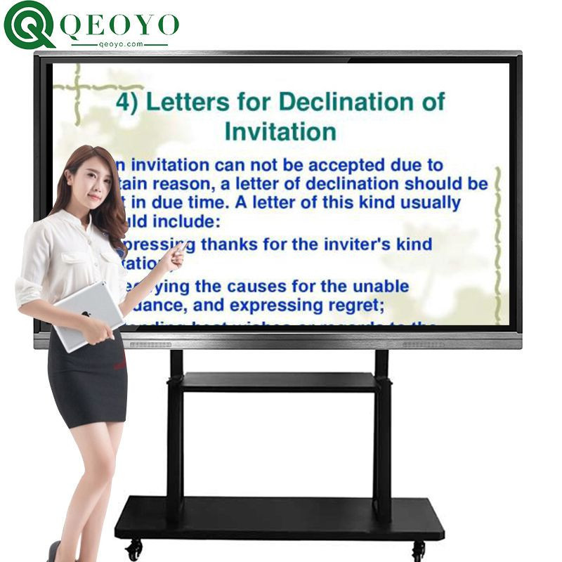 "Qeoyo 55""65""75""86""100"" i3 i5 i7 interactive whiteboard, interactive whiteboard with projector, interactive monitor for conference"
