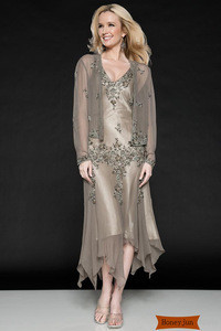 2014 Modern Appliques Mother of the Bride Dresses With Sheer Long Sleeve Jacket V-neck Tea-length Chiffon Zipper Wedding Gowns