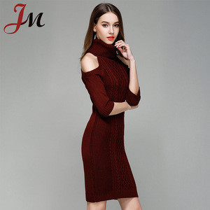 2018 latest Autumn&Winter fashion women high neck pullover cable knit off-shoulder dress