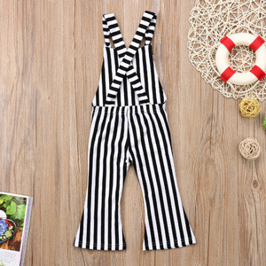 2018 New Kids Baby Girls Striped Brace Children Overalls Trousers Jumpsuit Bell Bottom Outfits Clothes Pants