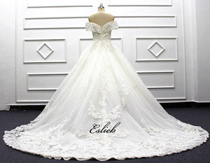 Amazing pearls wedding dress princess off the shoulder zipper back wedding dress long tail bridal gown lace appliques